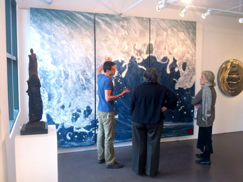 Discussing the encaustic process with San Diego Art Council Members