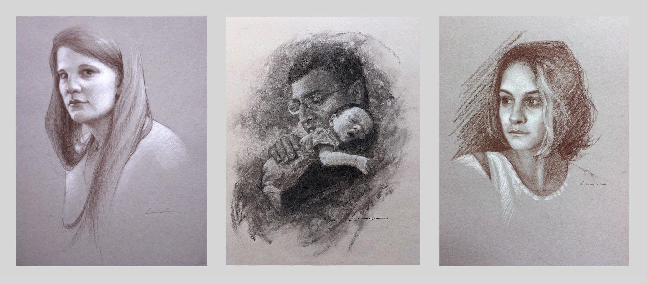 Charcoal portraits -artist Lisa Larrabee